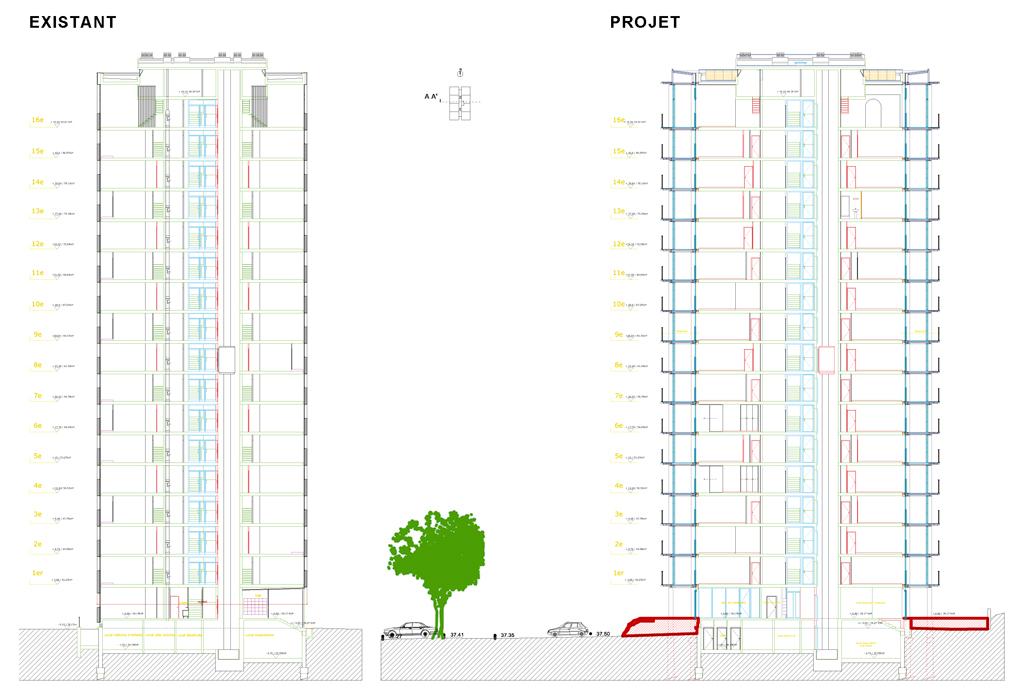 Transformation of housing block by druot lacaton vassal for Z architecture william vassal