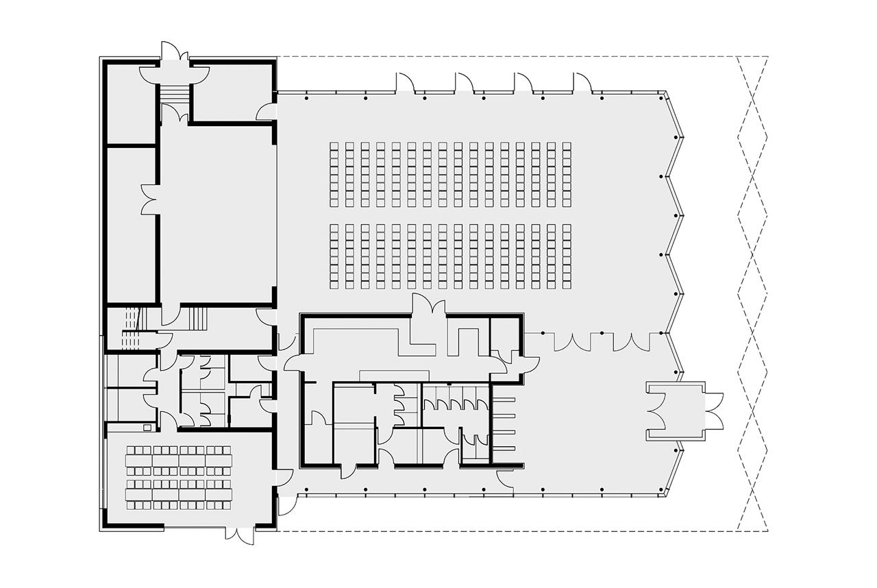 Sala de actos para neckartailfingen por ackermann raff for Salon de usos multiples programa arquitectonico