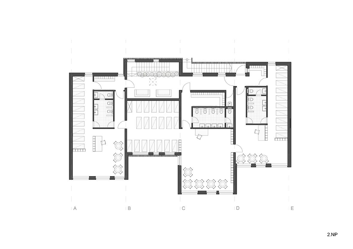 Second floor plan. Kindergarten over a vineyard by Architekti.sk ...
