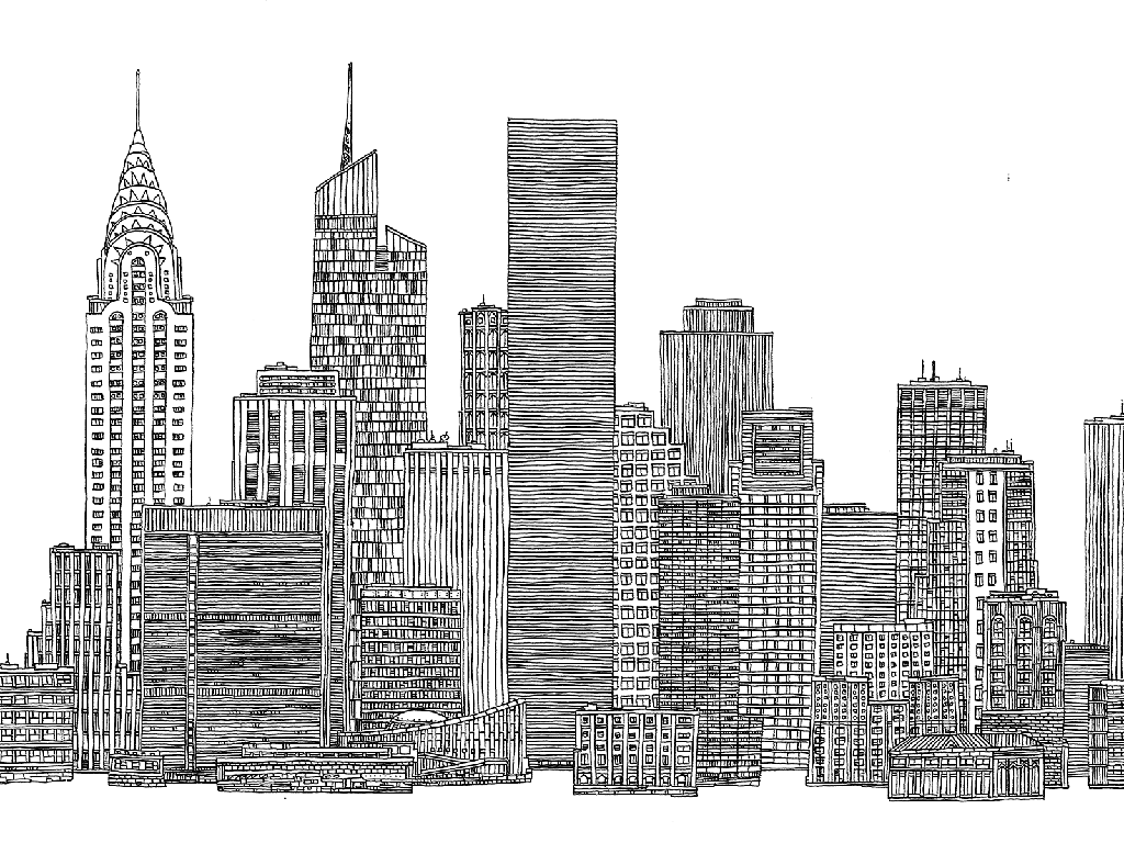 black and white city skyline new york google search