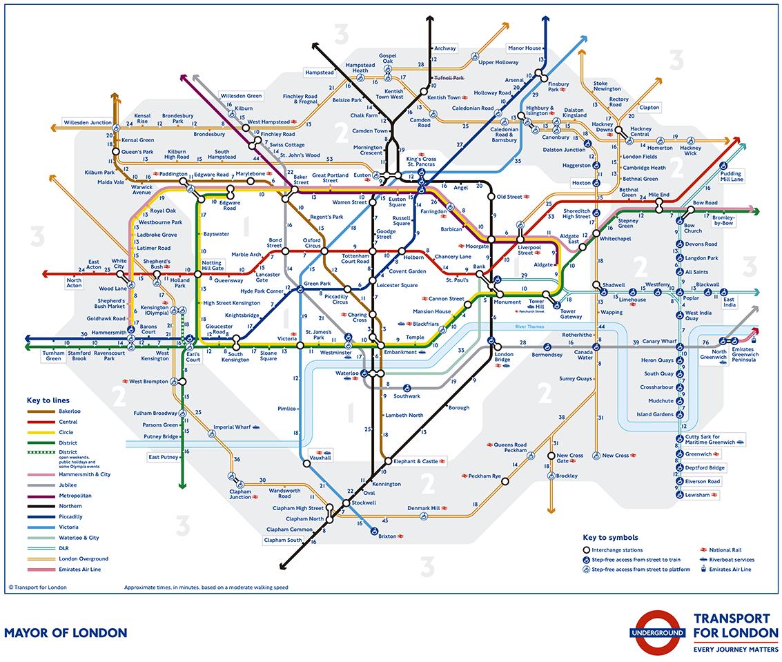 metro de londres mapa El nuevo mapa del Metro de Londres da los tiempos andando entre  metro de londres mapa