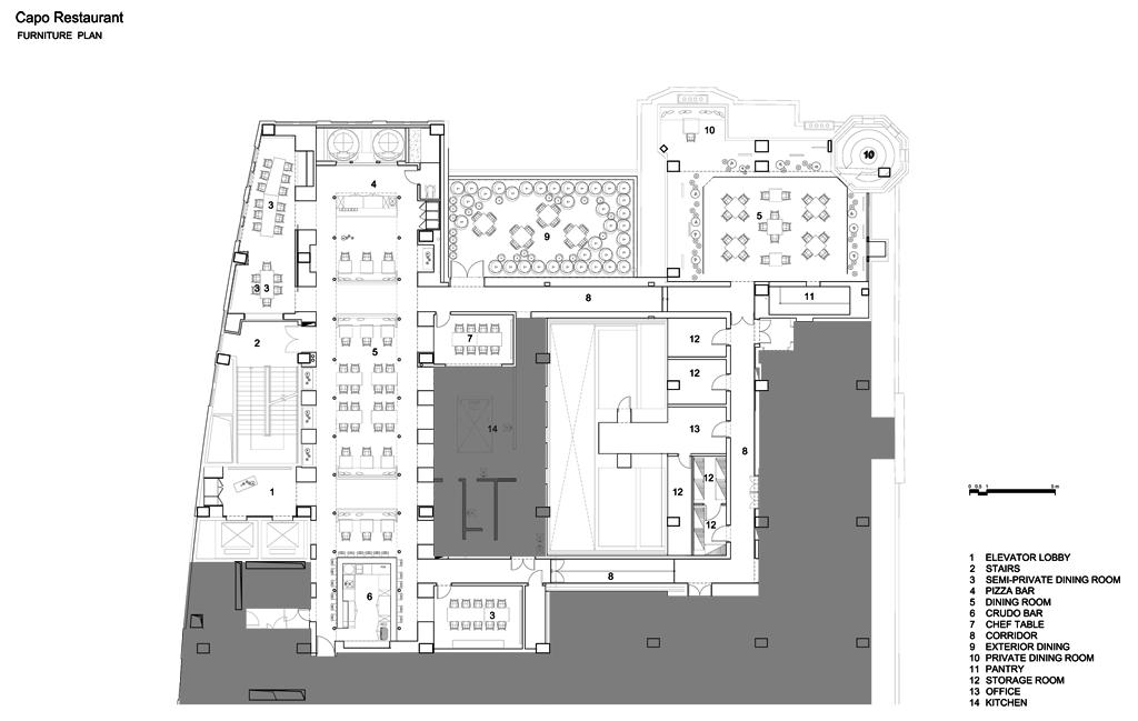 Restaurante italiano capo metalocus for Programa arquitectonico restaurante