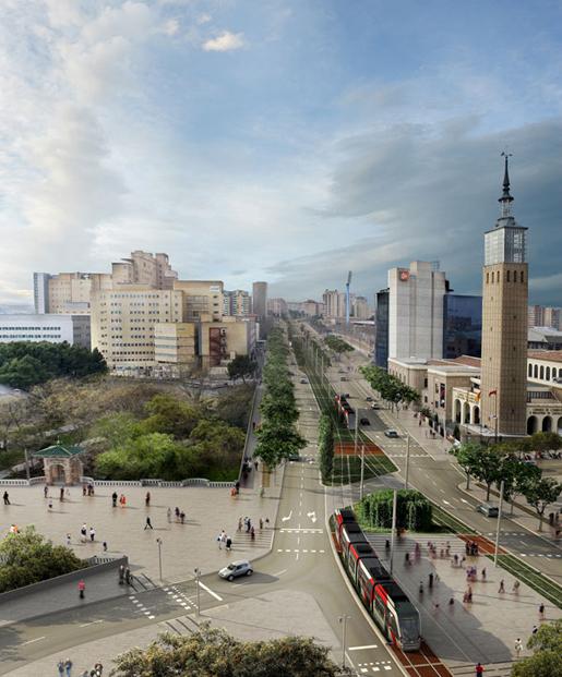 Render © sbda +Tranvías de Zaragoza. Zaragoza Tram. By Aldayjover Arquitectura y Paisaje