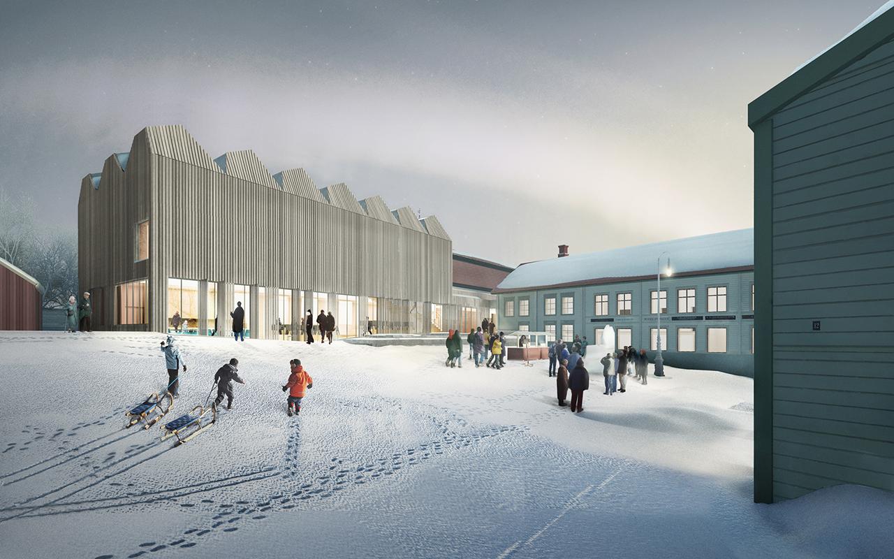 Vista exterior. Museo nacional Sueco en Östersund por Henning Larsen Arquitectos