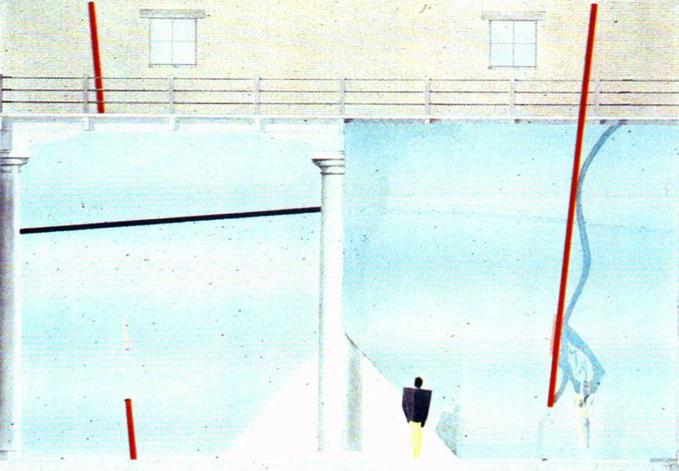 """La propuesta de Rem Koolhaas para """"La presencia del pasado"""". Fuente: Domus 610. Abril de 1980. P. 11"""