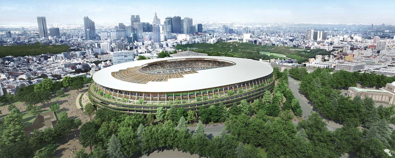 National Stadium of the 2020 Tokyo Olympics, project by Kengo Kuma. Image @ Kengo Kuma