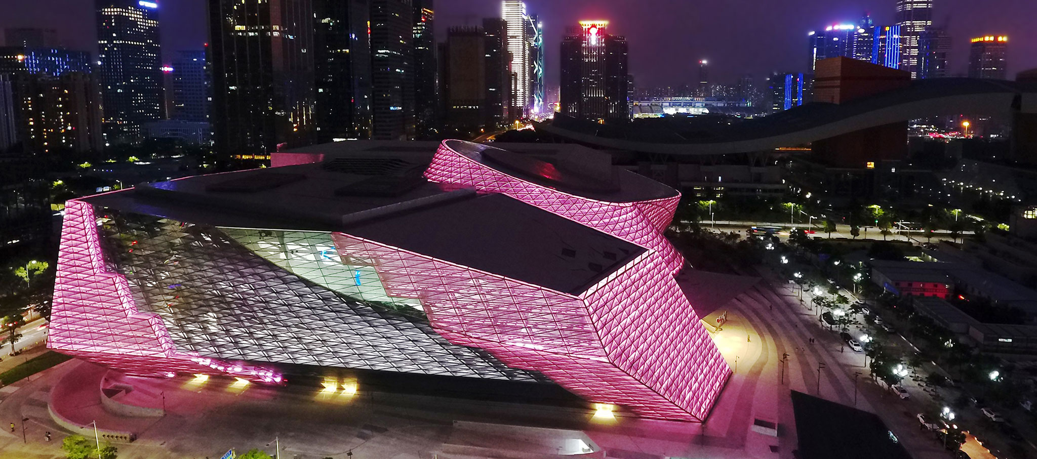Overview at night. Architectural Lighting Design for Mocape Shenzhen. Photograph © Shu He