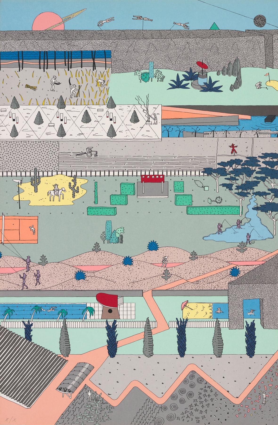 """Alex Wall, Office for Metropolitan Architecture (OMA), """"The Pleasure of Architecture,"""" 1983. Cartel realizado con los dibujos presentados al concurso del Parque de la Villette, París, 1982–83. Serigrafia de color en papel, 30 11/16 x 20 3/16"""". Colección del Archivo de Alvin Boyarsky. © OMA"""