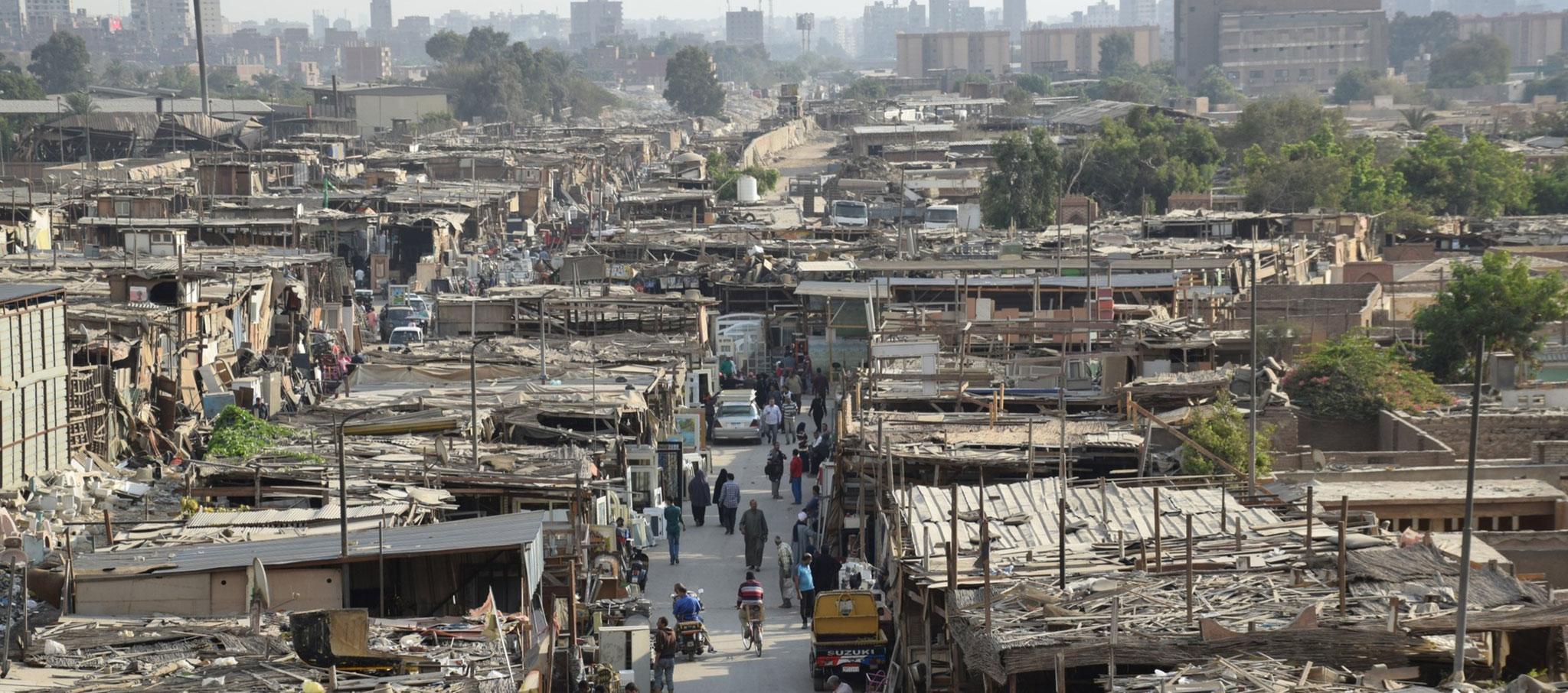 Vista aérea del mercado de viernes. Souq Aljuma por los comisarios