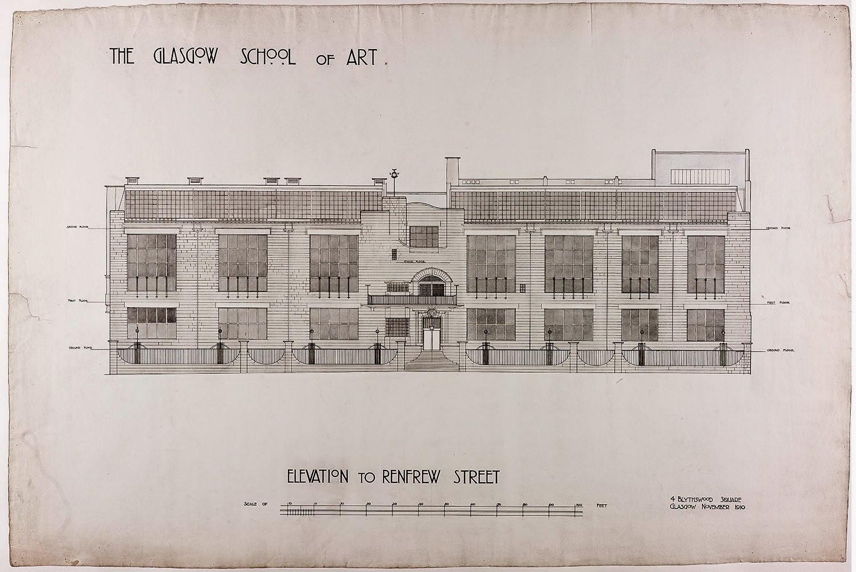 Edificio Mackintosh. Alzado a la calle Renfrew. Cortesía de The Digital Design Studio at The Glasgow School of Art
