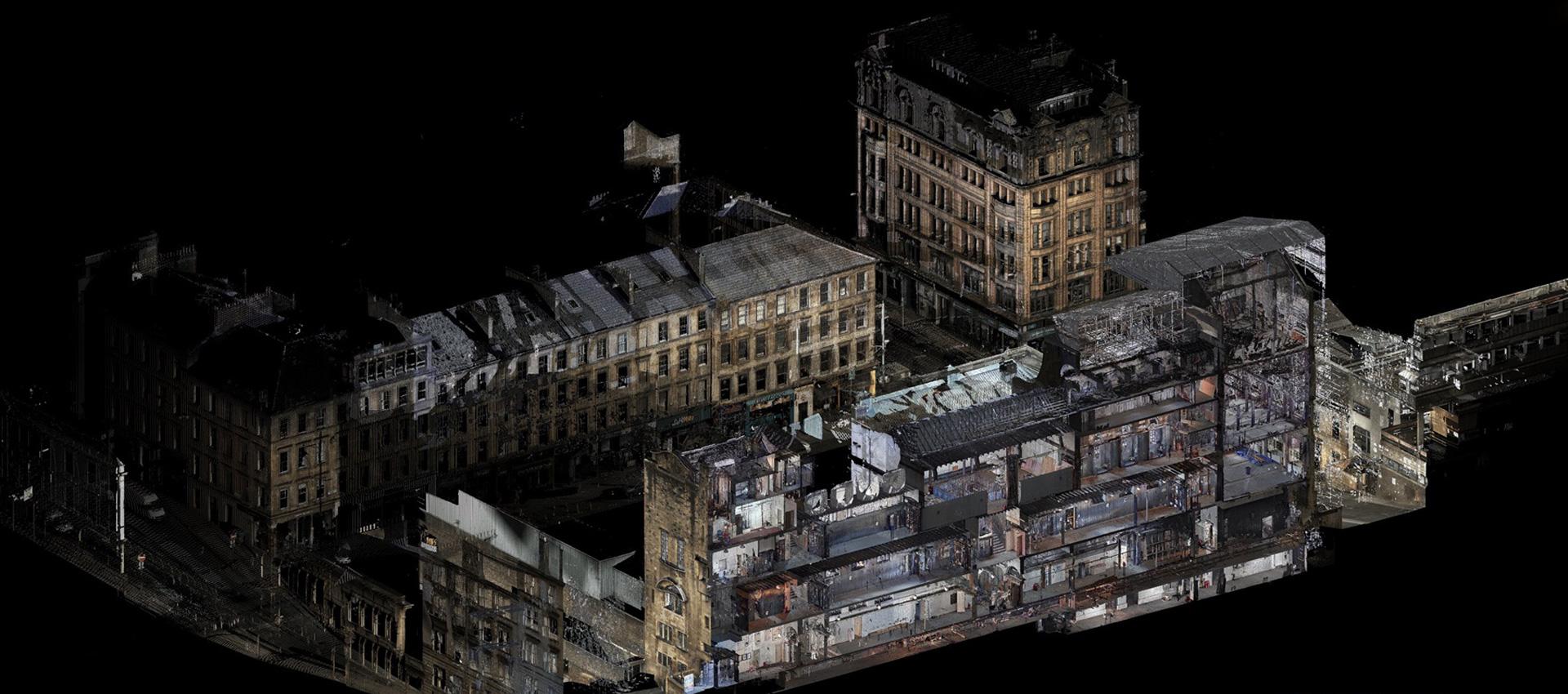 Edificio Mackintosh. Visualización 3d hacia el sur desde la calle Renfrew hacia la calle Sauchiehall. Cortesía de The Digital Design Studio at The Glasgow School of Art