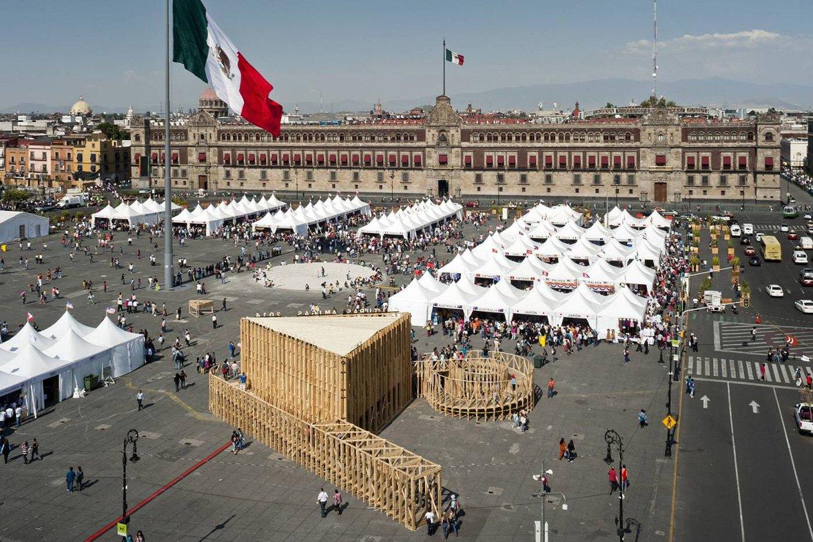 Pabellón de Méjico para la Feria de las Culturas 2014 por Productora. Fotografía © Luis Gallardo