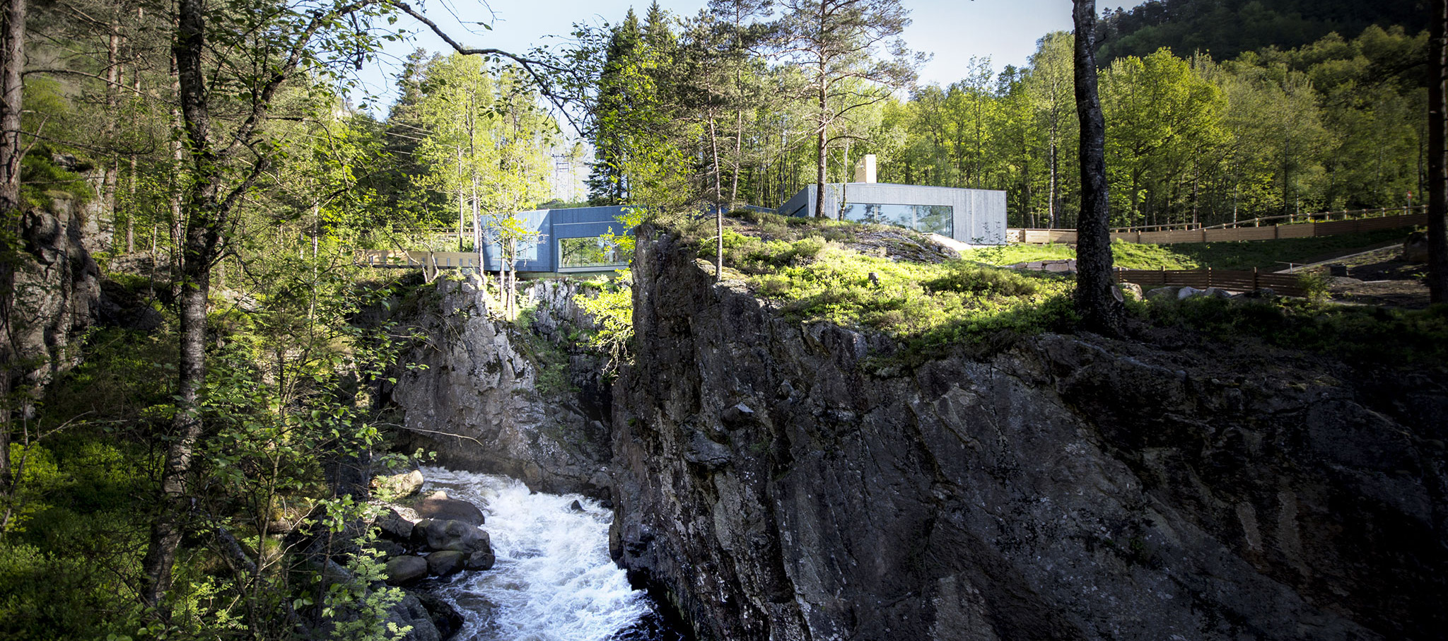 Salmon ladder at the Kvasfossen waterfall, by Rever & Drage Architects. Photograph © Tom Auger