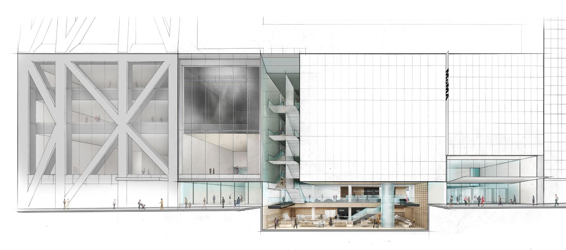 Alzado del Museo de Arte Moderno en la calle 53. Sección por debajo del nivel de la calle. Imagen © 2017 Diller Scofidio + Renfro