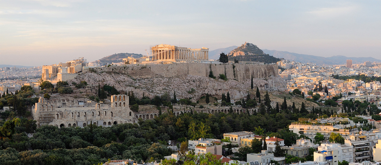 Sunset overview Acropolis. Athens. Greece