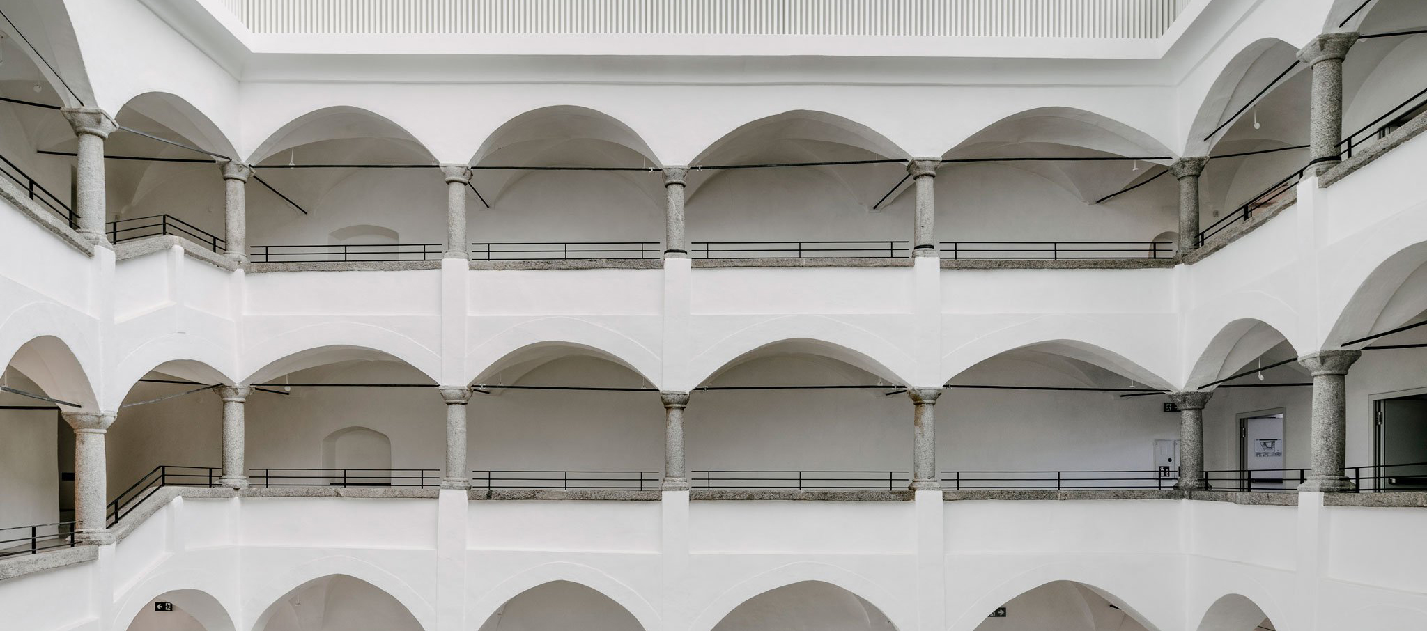 Renovation historical building, interior view. Brunico School of Music by Barozzi & Veiga. Photograph by Simon Menges