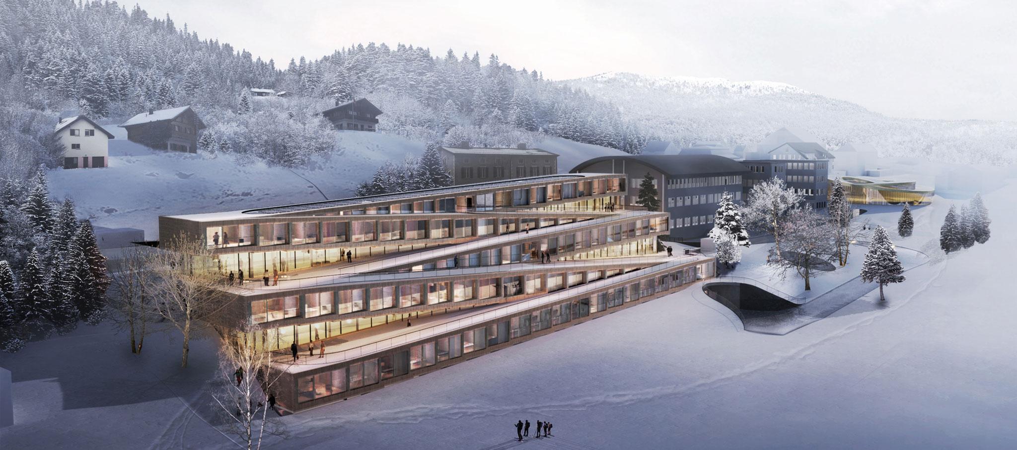 Visualización. Hotel para esquí en Zig-Zag por BIG-Bjarke Ingels Group. Cortesía de BIG-Bjarke Ingels Group