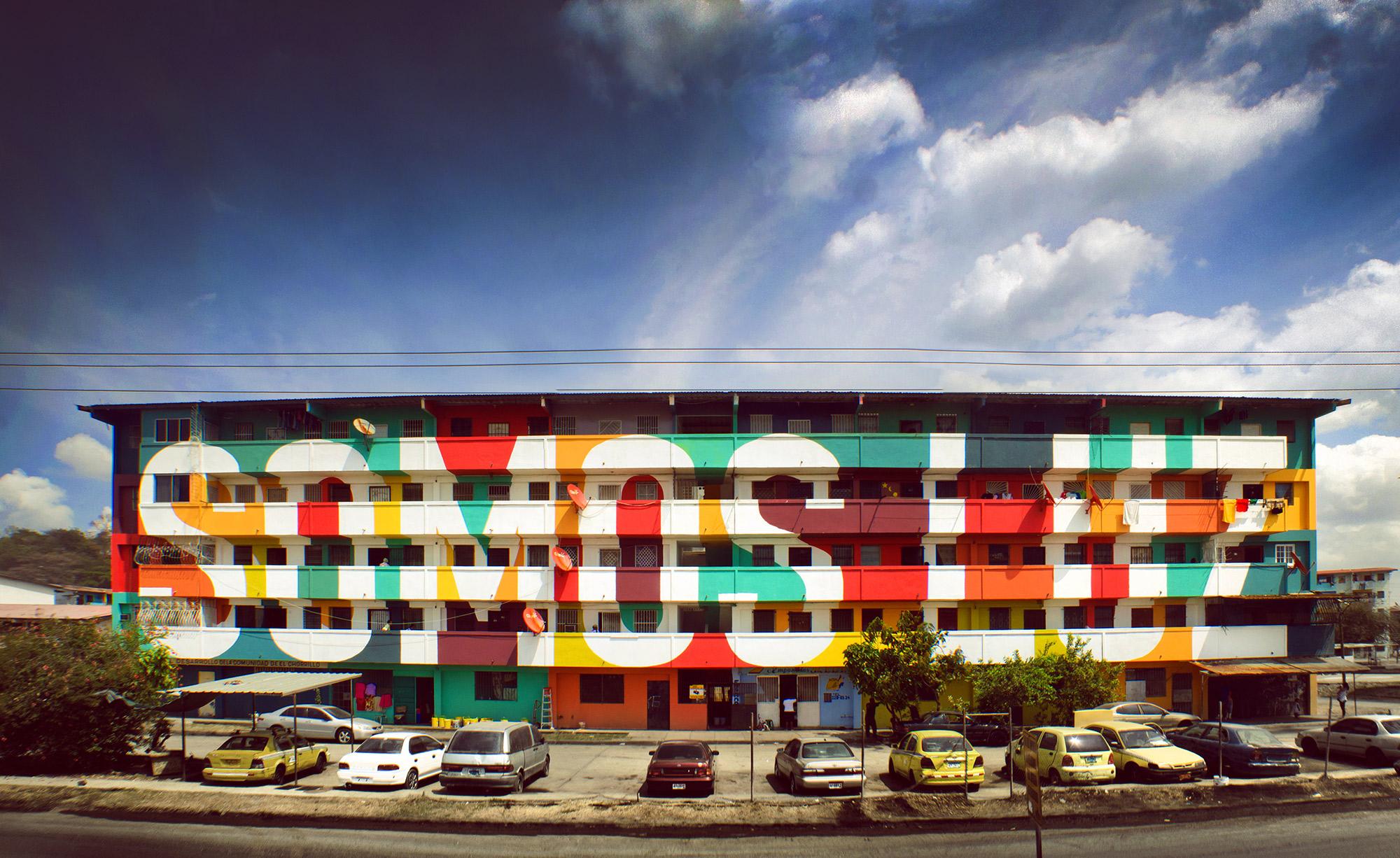 """Fachada del edificio. """"Somos luz"""" por Boa Mistura. 2013"""
