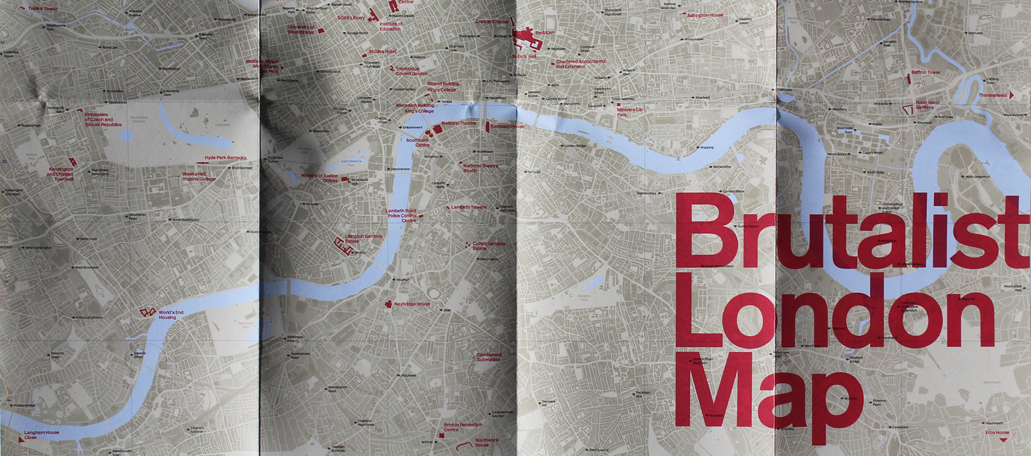 Mapa Brutalista de Londres por Blue Crow Media