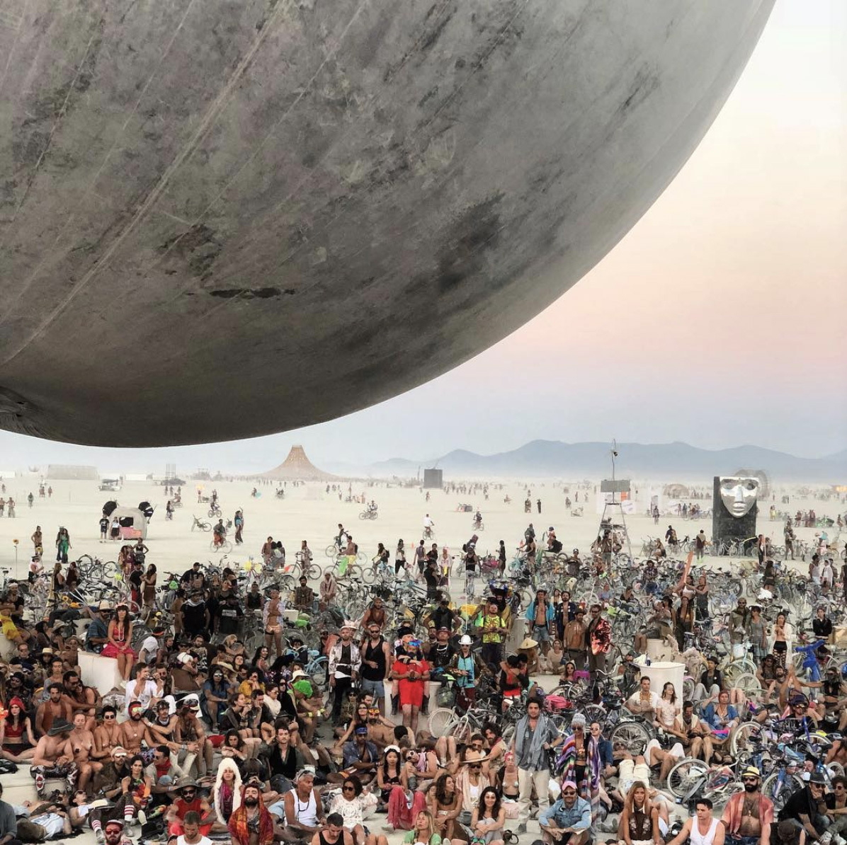 Orb, a giant sphere by Bjarke Ingels in Burning Man 2018. Courtesy of Bjarke Ingels