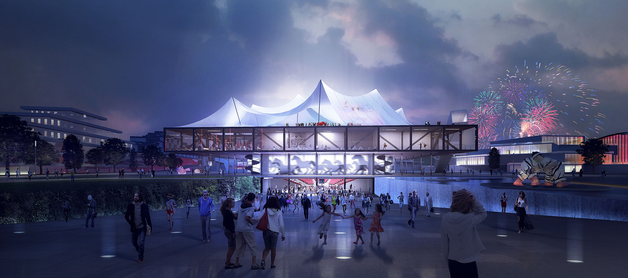 Nocturnal exterior render. Clément Blanchet Architecture wins the international competition for the design of the new Circus ³. Courtesy of the architects