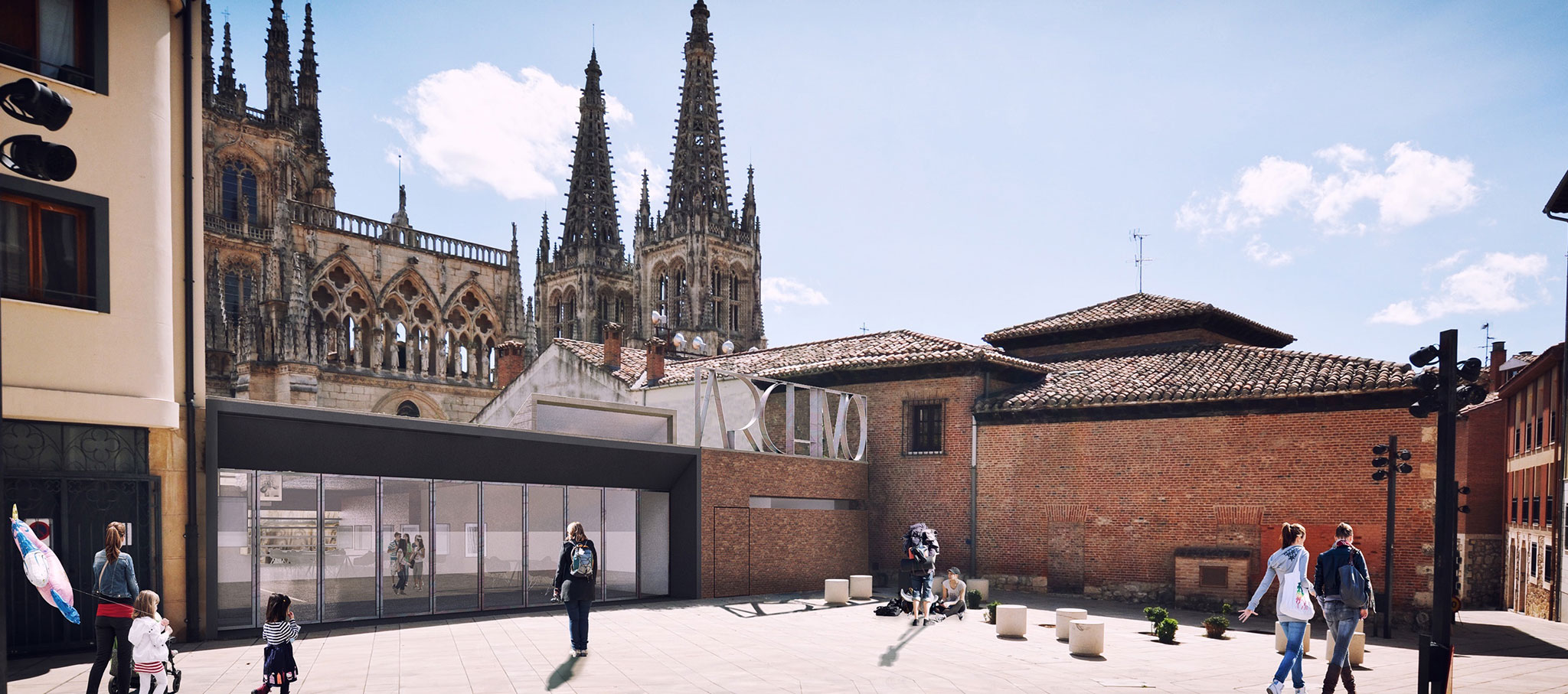 Rendering of access. Extension of the Municipal Archive, Palace of Castilfalé by Contell-Martínez Arquitectos