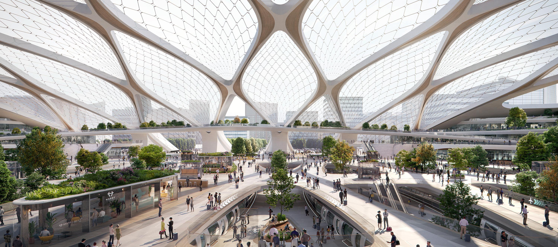 Visualización. 'Hyperloop Station' de Amsterdam a Frankfurt por UNSFutures. Imagen © Plompmozes