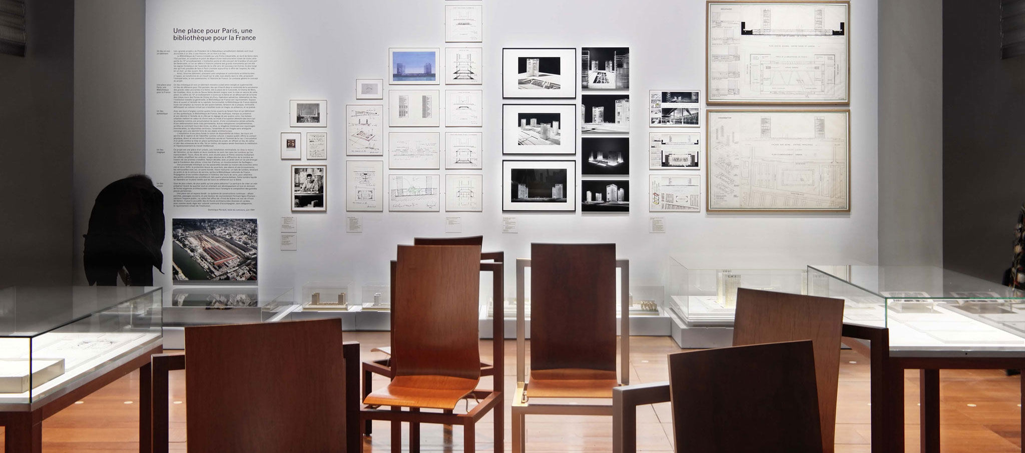 Interior de la exposición. La Bibliothèque nationale de France de Dominique Perrault, Portrait d'un projet 1988 - 1998, exposición en el BnF. © Cortesía de Dominique Perrault Architecte/ADAGP 2018
