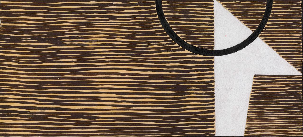 Diseño de alfombra, 1920. Gouache en papel. Exposición Eileen Gray: la pintora privada. Imagen cortesía de la Osborne Samuel Gallery