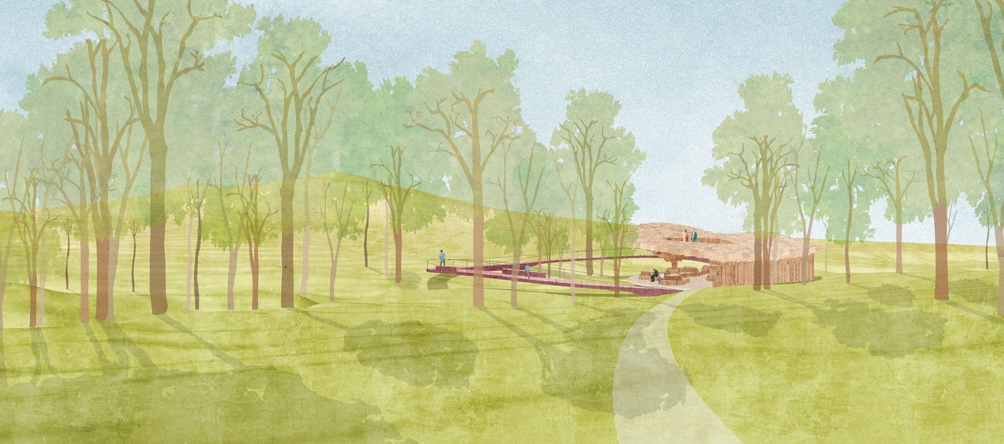 Exterior view of the Pavilion designed by Francis Kéré at Tippet Rise Art Center in Montana. Image courtesy of Kéré Architecture