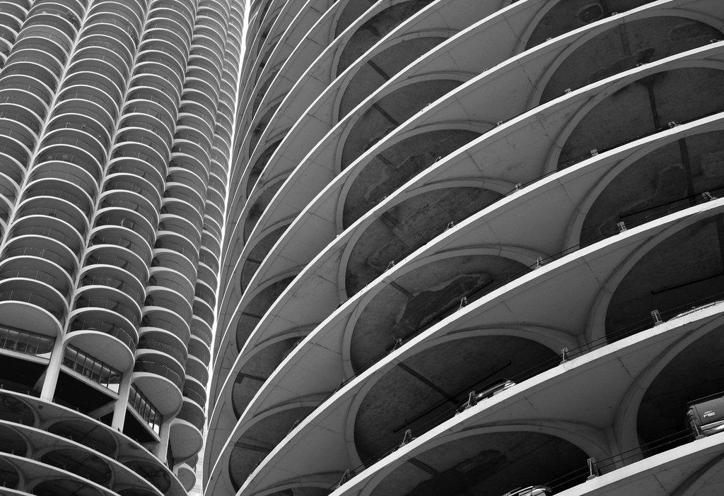Marina City, diseñada por Bertrand Goldberg. Fotografía © Mike Chunko, cortesía de Marina City Org