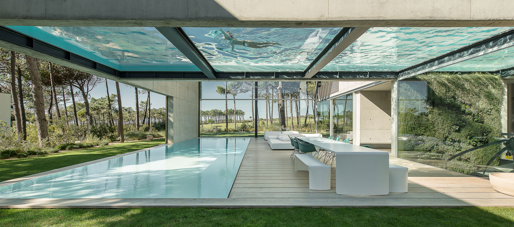 Pool Above Swimming Pool. The Wall House By Guedes Cruz Arquitectos