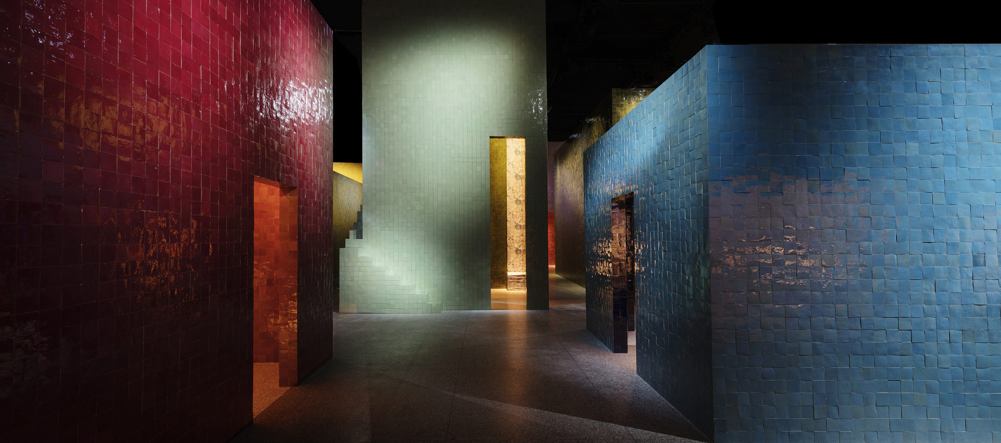 Hermès erected seven towering structures in La Permanente, finished in Moroccan zellige tiles, to house their new pieces