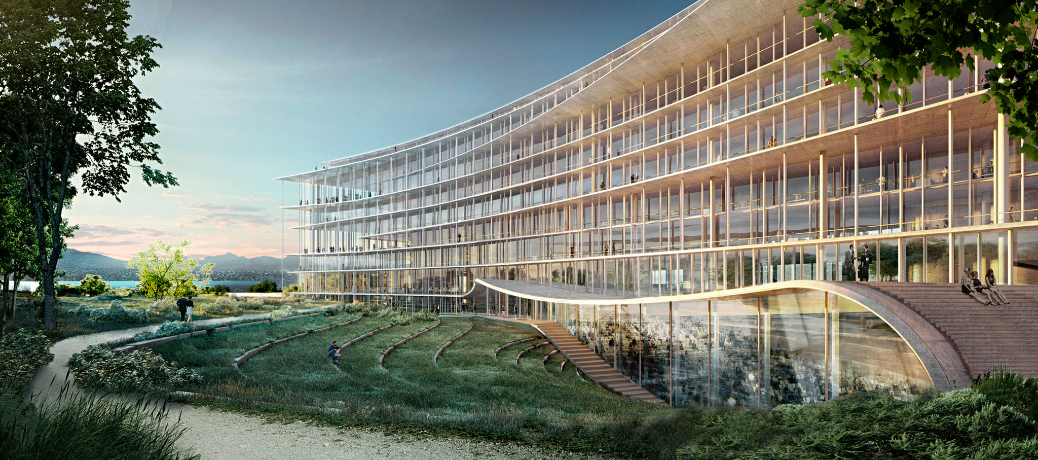 Headquarters of Lombard Odier: lots of nature around the banking center by Herzog & de Meuron