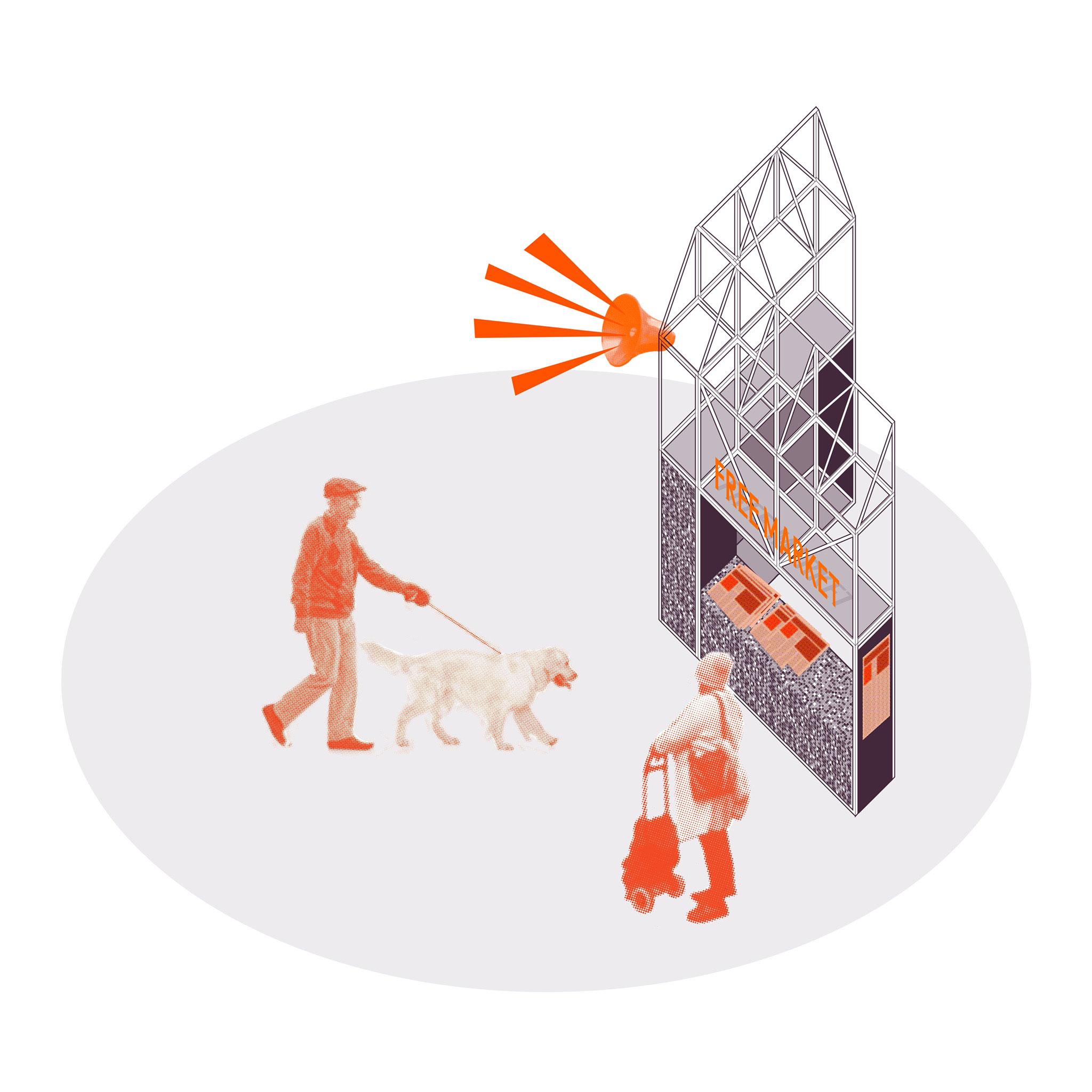 Free market diagram. Irish Pavilion's Free Market at the Biennale Architettura 2018. Image by Mark Wickham
