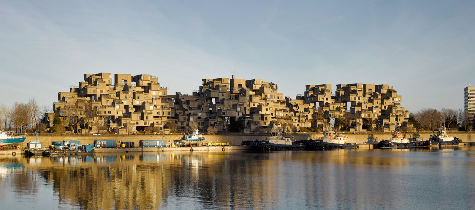 Exterior view of Moshe Safdie's modular housing complex named Habitat 67 in Montreal. Photograph by James Brittain