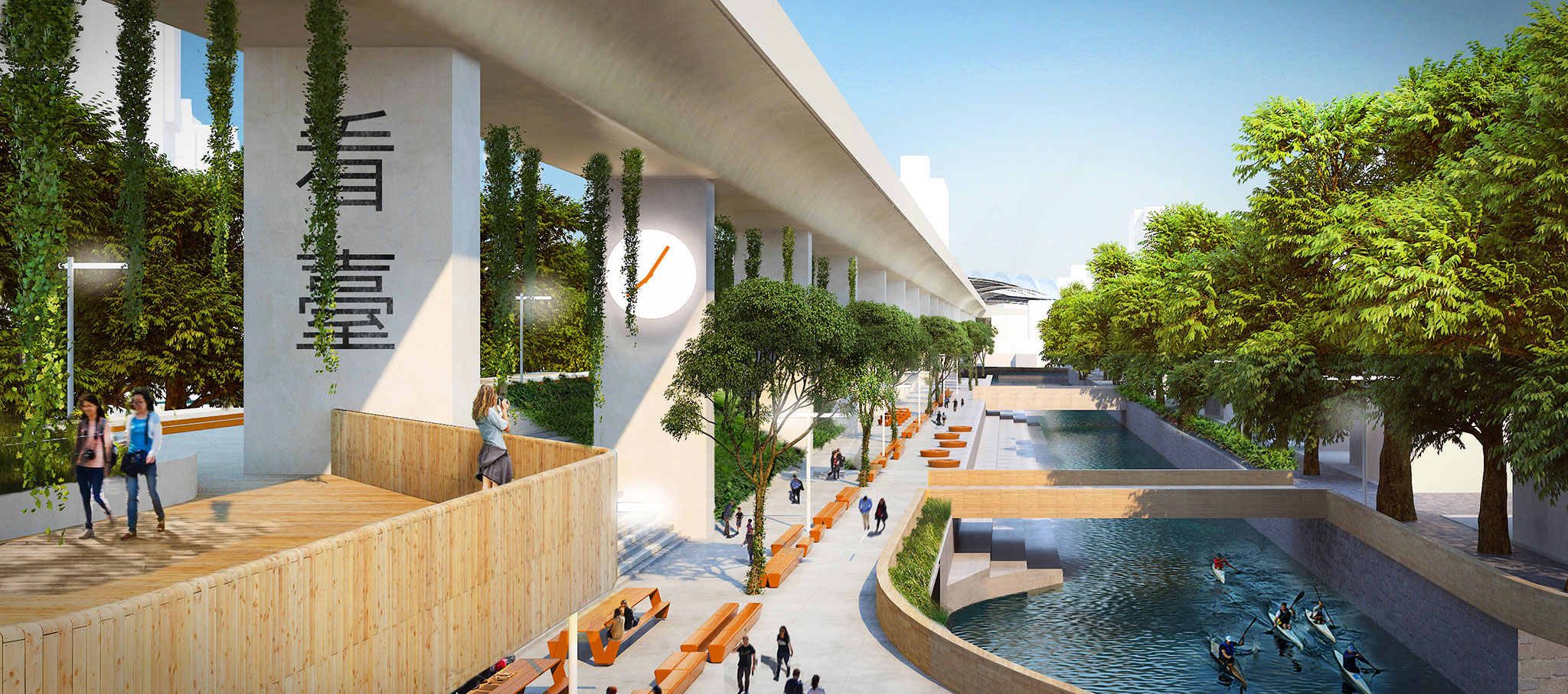 Render. Taichung Green Corridor by Mecanoo. Image courtesy of architects