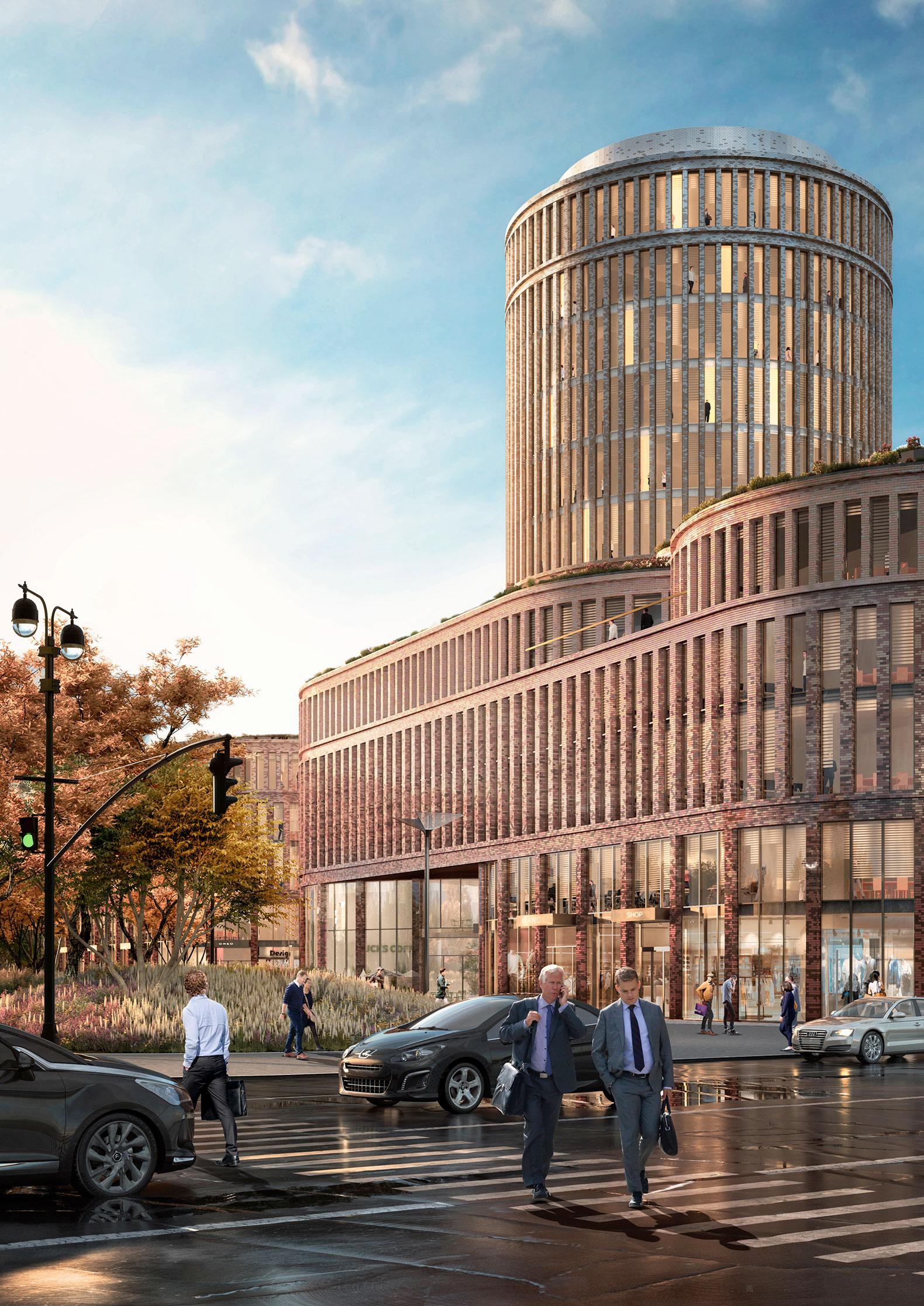 El diseño de la fachada de ladrillos esmaltados indica el pasado y la ambición futura de la ciudad. Imagen de MVRDV