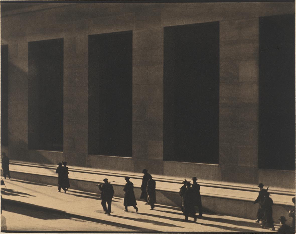 Wall Street, New York, 1915  Platinum print  Philadelphia Museum of Art, Philadelphia. The Paul Strand Retrospective Collection, 1915-1975, gift of the estate of Paul Strand, 1980-21-2  © Aperture Foundation Inc., Paul Strand Archive
