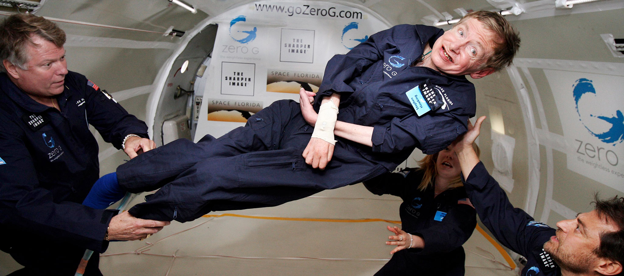 "Hawking taking a zero-gravity flight in a ""Vomit Comet"". Photograph by Jim Campbell/Aero-News Network"