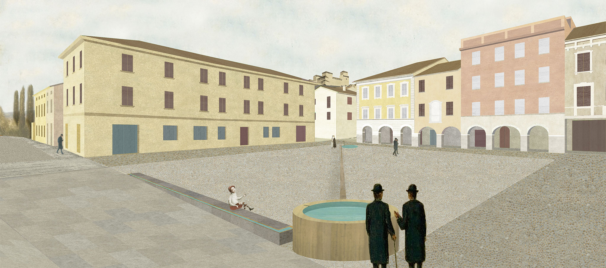 Rendering. Office X proposal for the Piazza Leoni in Torrechiara. Image courtesy of Office X