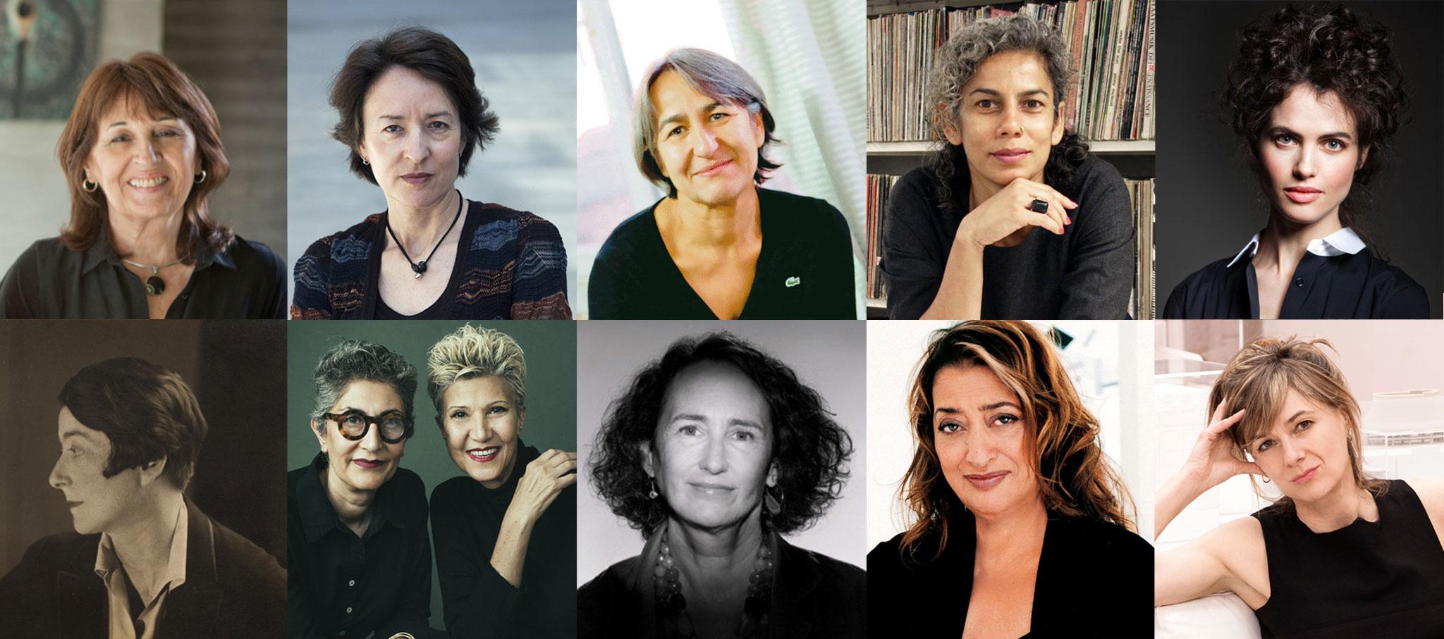María Victoria Besonías, Ángela García de Paredes, Anne Lacaton, Anupama Kundoo, Neri Oxman, Eileen Gray, Gisue Hariri and Mojgan Hariri, Julia Barfield, Zaha Hadid, Amanda Levete