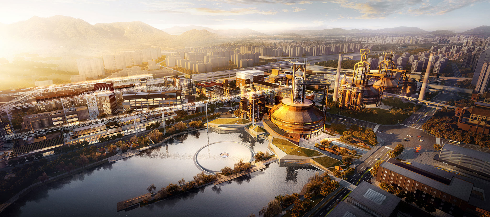 No.3 blast furnaces -bird's eye view, rendering. Shougang Museum Regeneration Design by CCTN Architectural Design. Courtesy of CCTN Architectural Design