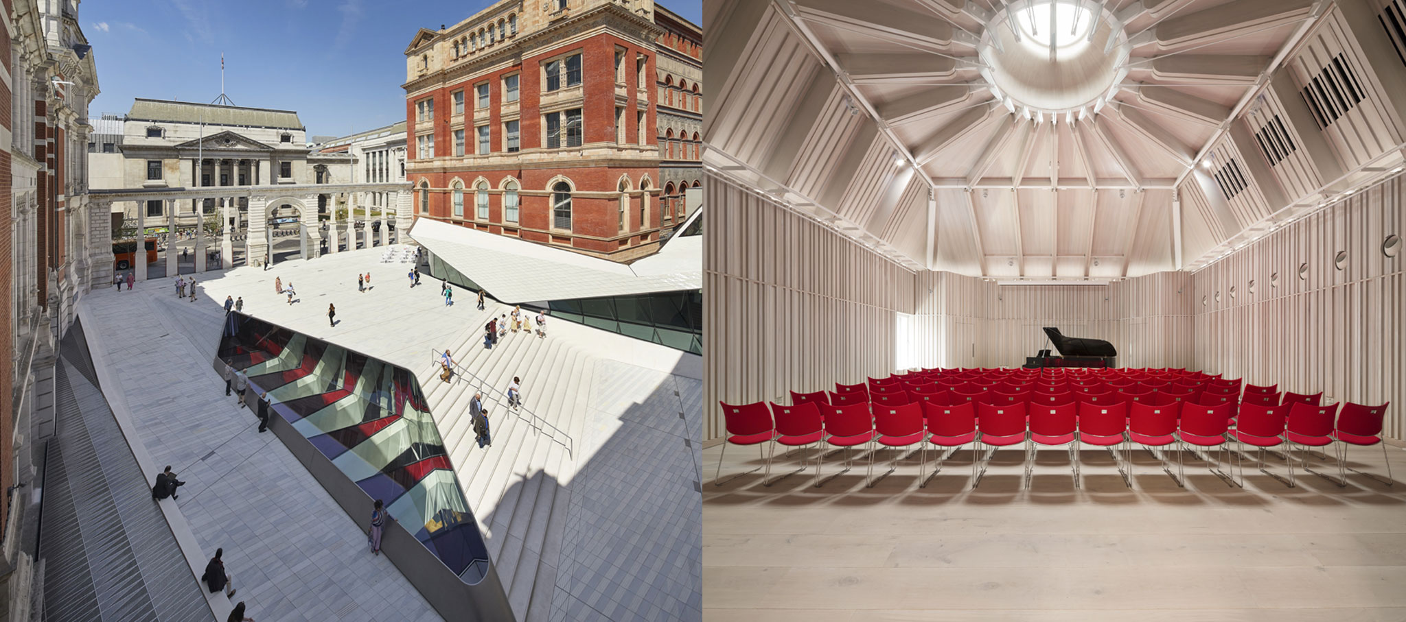 Top honors, the RIBA London Building of the Year Award. Victoria & Albert Museum Exhibition Road Quarter by AL_A and Royal Academy of Music by Ian Ritchie Architects