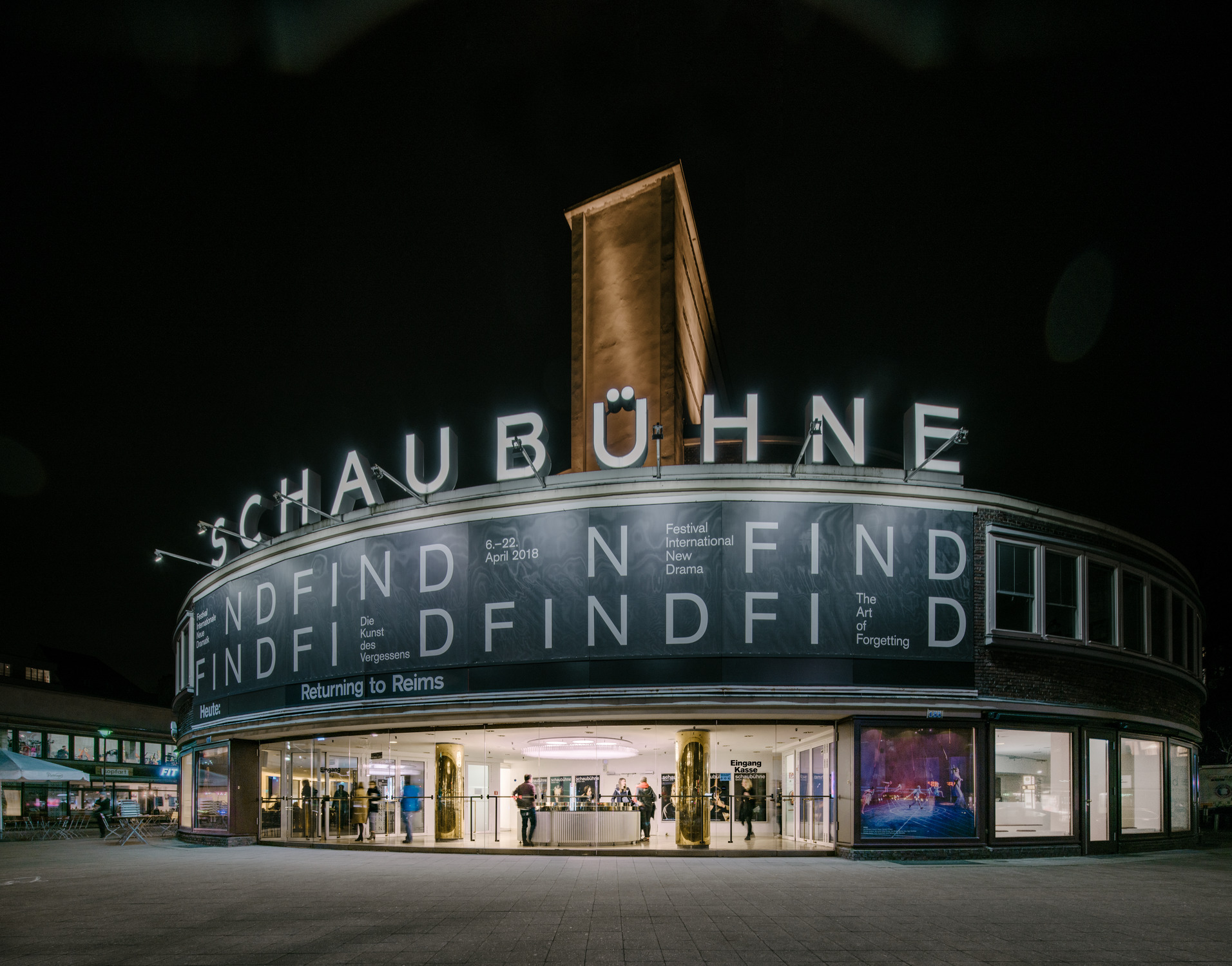 Renovation of reception area of the Schaubühne Berlin by Barkow Leibinger. Photography by Simon Menges