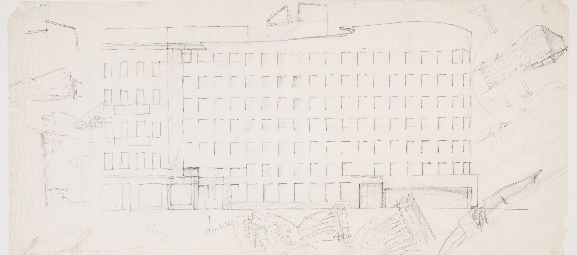 Álvaro Siza. Elevation of southeast facade with sketches, Bonjour Tristesse, c. 1980. Image courtesy via CCA