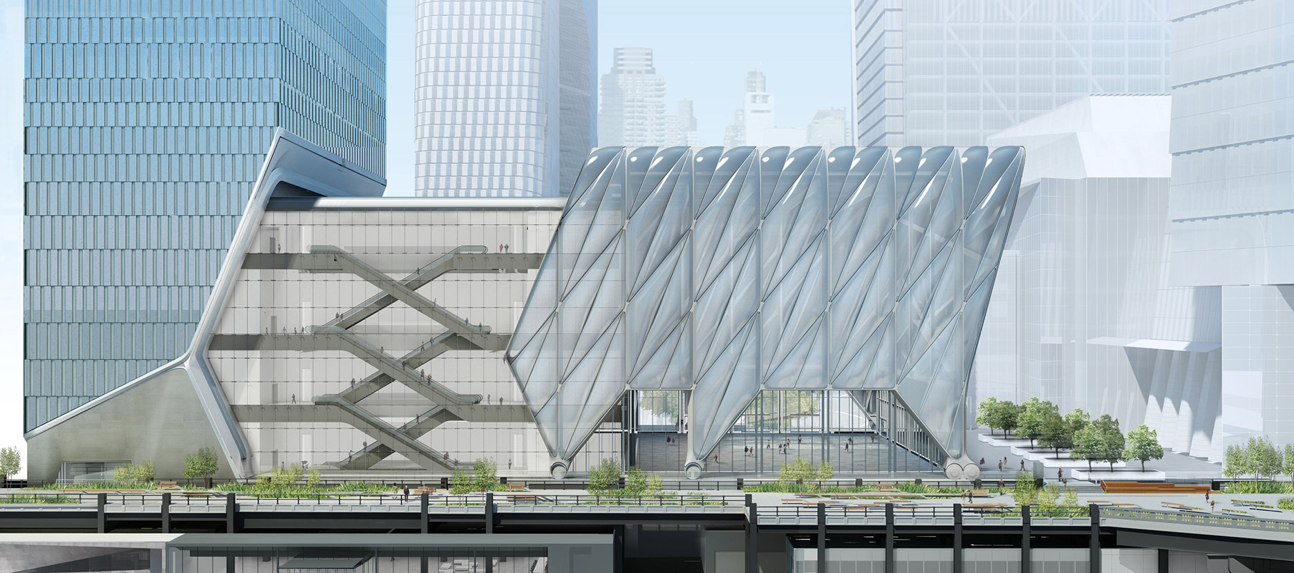 Render. The Shed by Diller Scofidio + Renfro. Image coutesy of Rockwell Group
