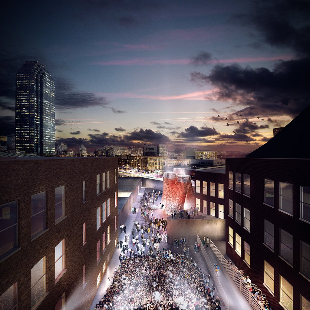 Rendering of The Living's Hy-Fi, winning design of the 2014 Young Architects Program. The Museum of Modern Art and MoMAPS1. Image courtesy of The Living