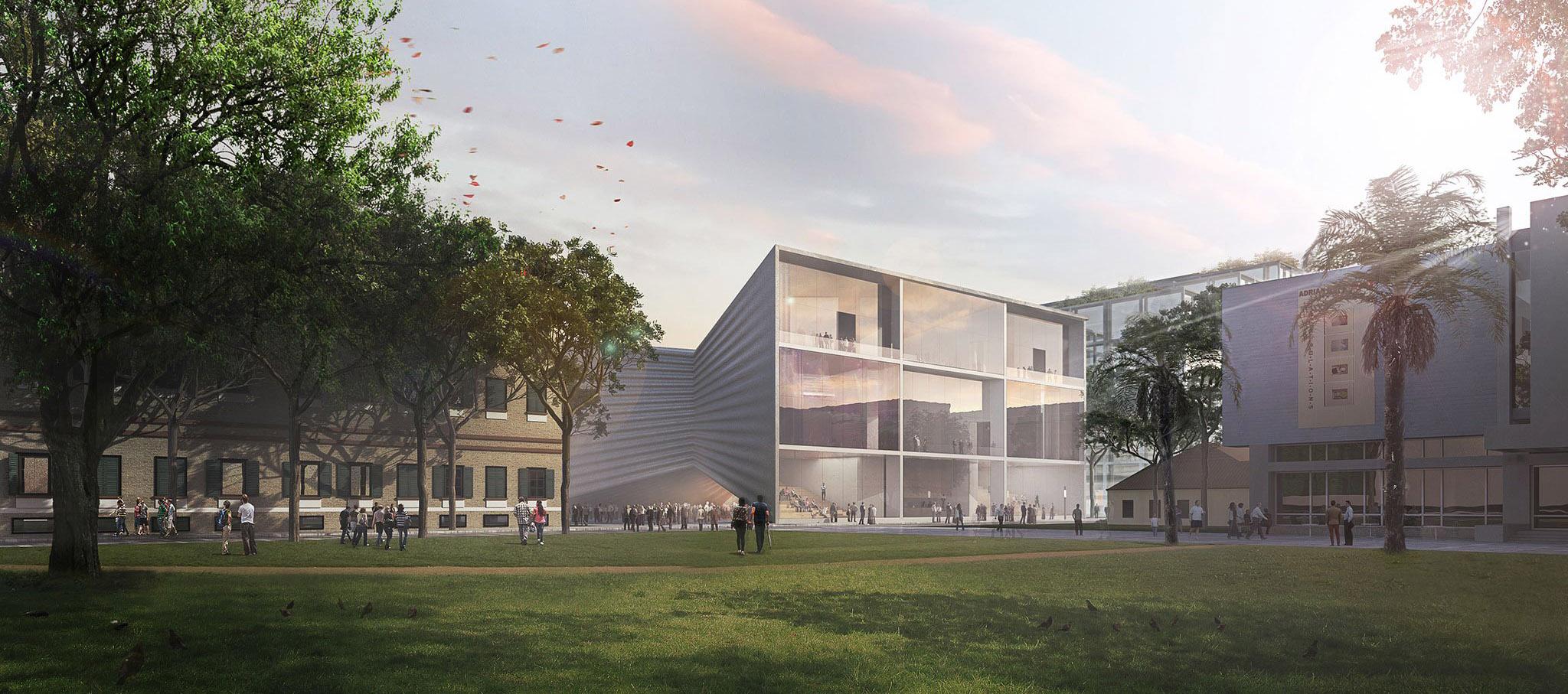 Vista exterior. BIG gana el concurso pa ra el Teatro Nacional de Tirana y Plan Director. Imagen cortesía de BIG - Bjarke Ingels Group