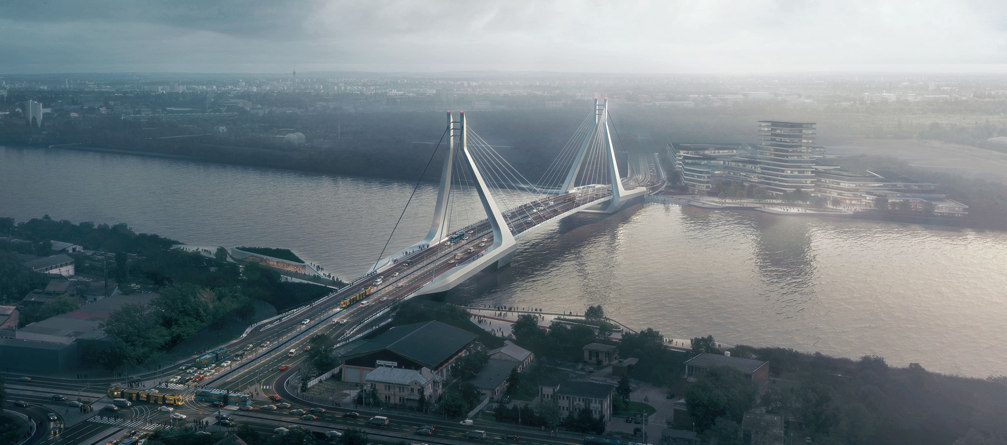 UNStudio wins the competition for the New Budapest Bridge - the first international bridge design competition in Hungary for over 120 years